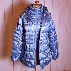 Lands End Metallic Blue Puffy Winter Coat
